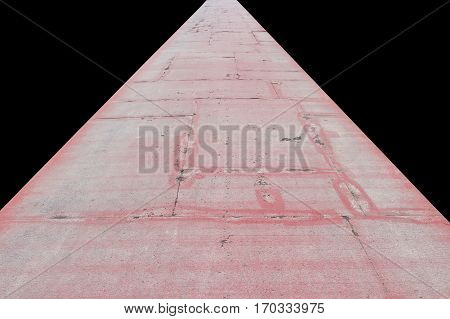 running track old rubber coating shabby cracked surface on black background and clipping path
