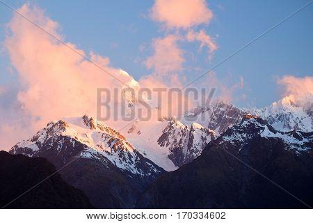 Mt Tasman Sunset From Lake Matheson.  Fox Glacier, Westland National Park, New Zealand