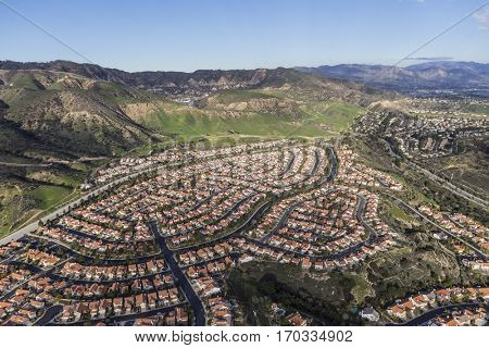 Suburban houses and streets in the Porter Ranch neighborhood of Los Angeles.