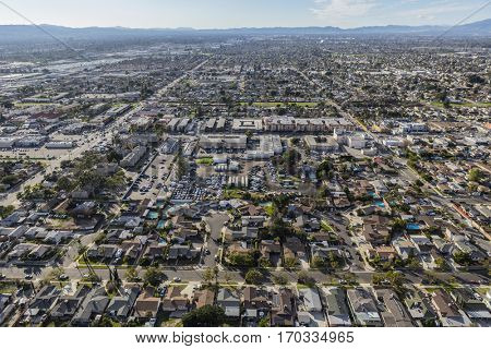 Aerial view of the Sun Valley neighborhood in the San Fernando Valley region of Los Angeles, California.