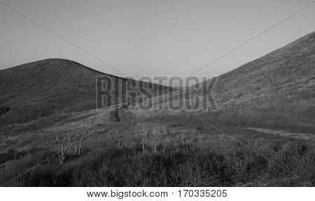 Black and white photo of rolling hills, Orange County, CA