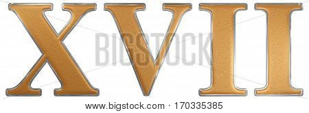 Roman Numeral Xvii, Septendecim, 17, Seventeen, Isolated On White Background, 3D Render