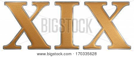 Roman Numeral Xix, Undeviginti, 19, Nineteen, Isolated On White Background, 3D Render