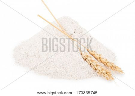 Heap of wheat flour with spikelets