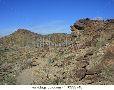 Hiking trail leading through a rocky canyon, Palm Springs, CA