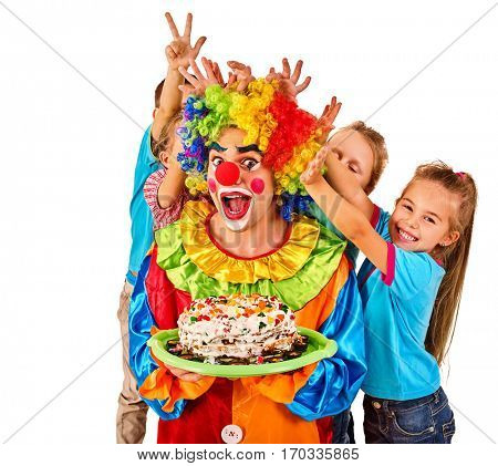 Birthday child clown playing with children. Kid cakes celebratory in hands of events organizer man. Fooling of group people celebrate party on white background. Children pulling bunny fingers prank on