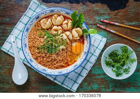 Thai Style Noodle, Noodle Tom Yum Kung With Beef Meatball On Table