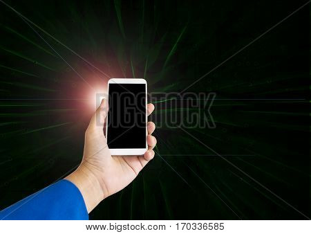 Hand Hold Smart Phone Or Moblie Phone On Modern Light And Lens Flare On Electronic Technolgy Dark Ba