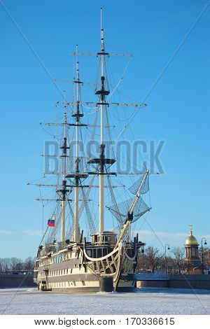 SAINT PETERSBURG, RUSSIA - DECEMBER 29, 2017: Frigate