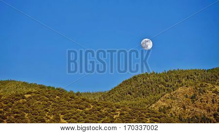 Full Moon over hills and forest. Los Angeles. Pasadena. Angeles National Forest. San Gabriel Mountains. California. United States.