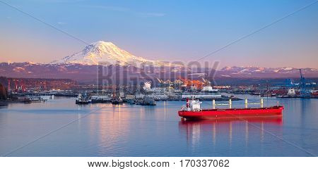 Sunset Illuminates Mt Rainier and The Port Of Tacoma, Washington