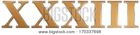 Roman Numeral Xxxiii, Tres Et Triginta, 33, Thirty Three, Isolated On White Background, 3D Render