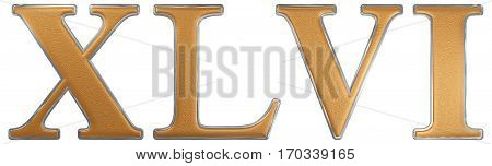 Roman Numeral Xlvi, Sex Et Quadraginta, 46, Forty Six, Isolated On White Background, 3D Render