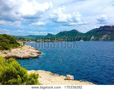The sea and Harbor of Cassis, France Provence France