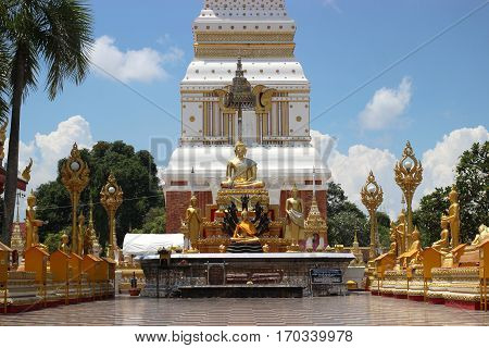 Buddha statue agent prophet at temple in Thailan