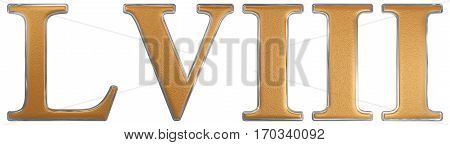 Roman Numeral Lviii, Octo Et Quinquaginta, 58, Fifty Eight, Isolated On White Background, 3D Render