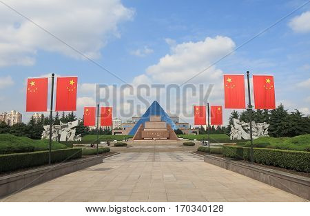 SHANGHAI CHINA - NOVEMBER 2, 2016: Longhue Martyrs Memorial Hall. Longhue Martyrs Memorial Hall is a memorial to those who died under the regime of the Kuomintang
