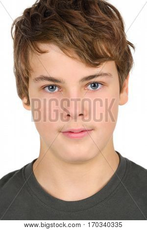 Boy teenager in grey isolated on white background, close up portrait
