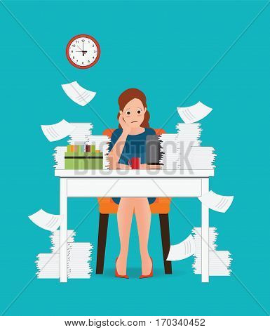 Stress situation on work Overworked and tired business woman or office worker sitting at her desk Business concept cartoon character Flat vector illustration.