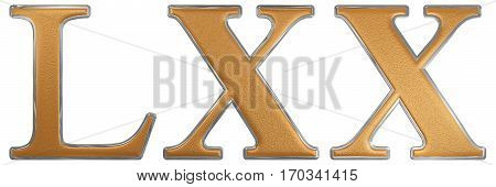 Roman Numeral Lxx, Septuaginta, 70, Seventy, Isolated On White Background, 3D Render