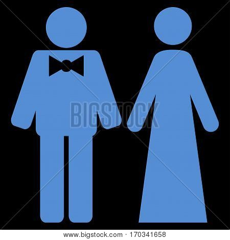 Just Married Persons vector icon symbol. Flat pictogram designed with blue and isolated on a black background.
