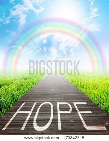 Wooden bridge and landscape background with hope words Business concept photo.