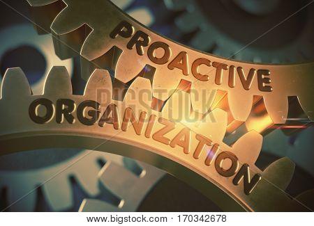 Proactive Organization - Technical Design. Proactive Organization on the Golden Cogwheels. 3D Rendering.