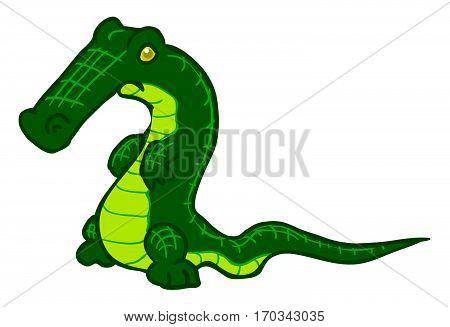 Cartoon crocodile character, vector illustration, horizontal, isolated