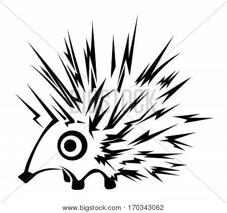 Hedgehog character stencil black, vector illustration, horizontal, isolated