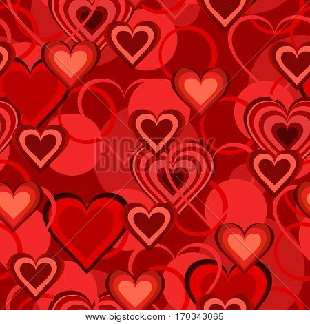 Valentine hearts abstract, seamless tile vector texture pattern