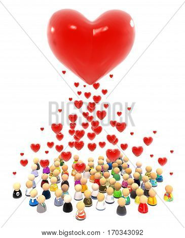 Crowd of small symbolic figures red heart shape valentine 3d illustration vertical