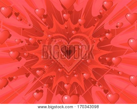 Valentine hearts abstract background splash, vector illustration, horizontal
