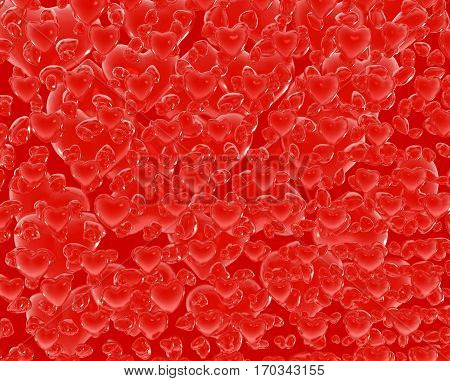 Symbol red hearts valentine background 3d illustration horizontal background