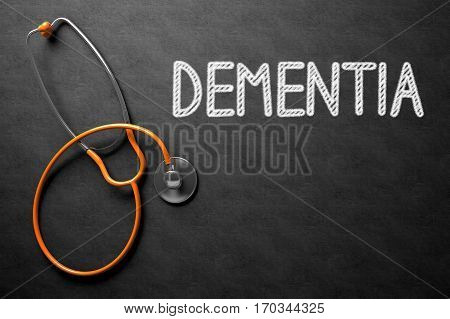 Medical Concept: Dementia Handwritten on Black Chalkboard. Medical Concept: Black Chalkboard with Dementia. 3D Rendering.