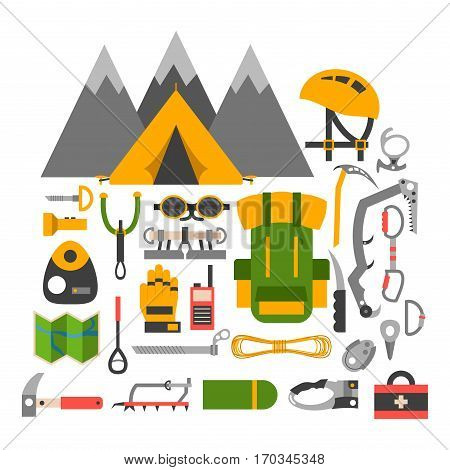 Set attributes equipment for climbing. Collection of objects for sport competitions of championship. Extreme school risk man high challenge and training center mountain adventure sport.