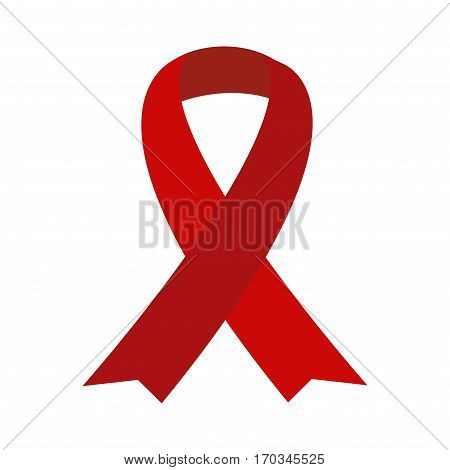 Red aids ribbon isolated on white vector. Awareness ribbon aids hiv symbol. Charity illness health medicine protection element. Campaign life sickness cancer solidarity day.