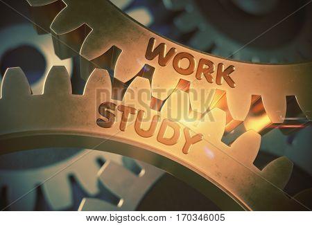 Work Study on Golden Metallic Cog Gears. Work Study on the Mechanism of Golden Cogwheels. 3D Rendering.