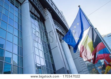 Flags with European Parliament