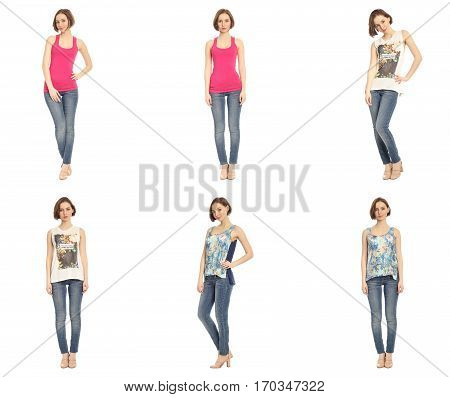 Young Sexy Blond Woman In Blue Jeans Concept