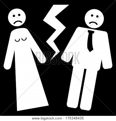 Broken Wedding vector icon symbol. Flat pictogram designed with white and isolated on a black background.