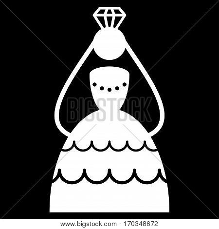 Crowned Bride vector icon symbol. Flat pictogram designed with white and isolated on a black background.