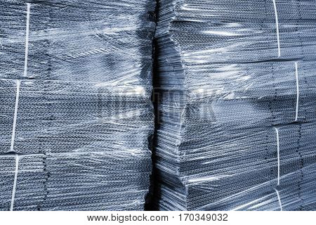 corrugated cardboard packaging in cellophane.