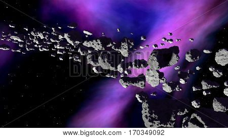 Nebula with asteroids belt - 3d illustration