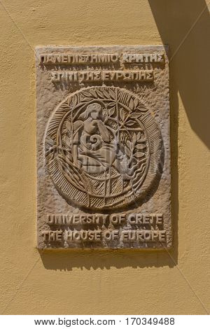 Rethymno, Greece - July  30, 2016:  University Of Crete Plate On The House.