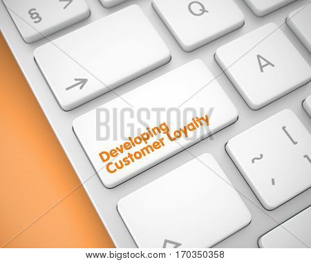 A Keyboard with a White Key - Developing Customer Loyalty. Close-Up View on Laptop Keyboard - Developing Customer Loyalty White Keypad. 3D Illustration.