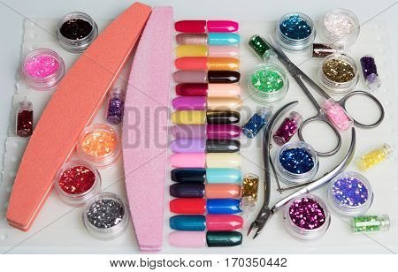 huge nail kit with tools and samples