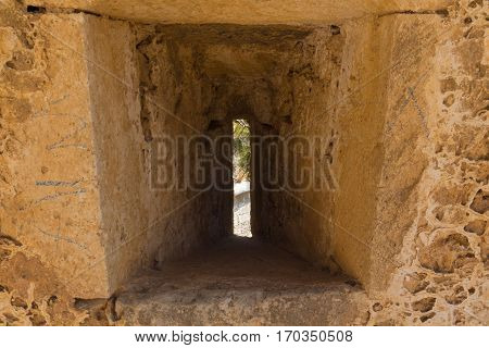 The embrasure in Fortezza Rethymno Greece. The Fortezza (from Italian for