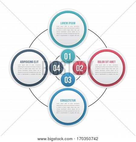 Circle diagram with four elements or steps, cycle process diagram, workflow, infographic template, vector eps10 illustration