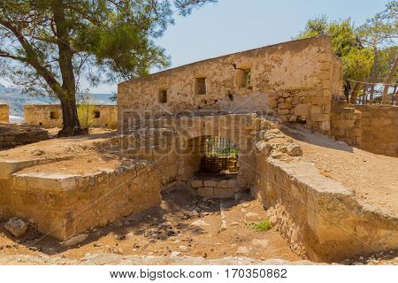 Rethymno Greece - July 30 2016: Embrasures in Fortezza Castle. The Fortezza (from Italian for