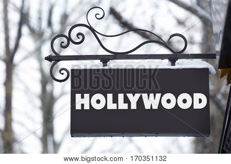 Street sign with word HOLLYWOOD